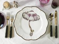 Alberto Pinto Limoges Porcelain Mushroom Dinner Plates