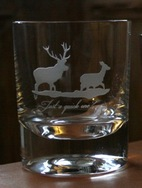 Whisky Tumbler - Stag and Hind -  with wording \'Just a Quick one