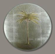 Set of 6 round Palm Tree Decoupage Mats