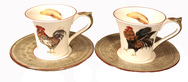 Set of 4 Breakfast Cups and Saucers- Bronze