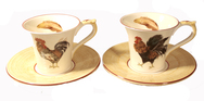 Set of 4 Breakfast Cups and Saucers- Paille