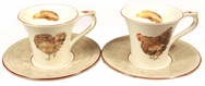 Set of 4 Breakfast Cups and Saucers - Bocage
