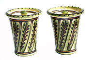 A Pair of Green Slipware Lidded Pots