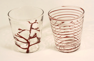 Coral and Swirl Glasses, and Coral Carafe