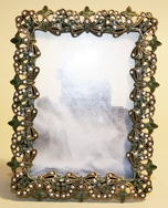 'Jewelled' green enamel photograph frame