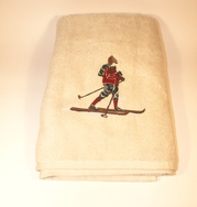 Bath Towel with Skier in Red Sweater