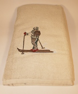 Bath Towel with Skier in Grey Sweater