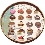 Au Chocolat Round Decoupage Tray