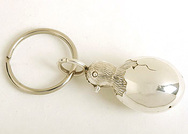 Silver Metal Chick & Egg Keyring