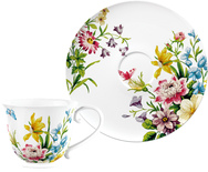 Tea Cups & Saucers - White Floral - Set of 4