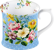 Blue Tankard in English Garden Design - Set of 6