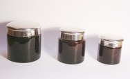 'Tortoiseshell' Glass Jars with silver lids - set of 3