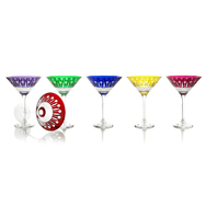 Coloured cut glass Cocktail Glasses