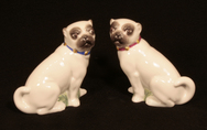 Pair of Seated Porcelain Pugs - 'Harold & Maud'