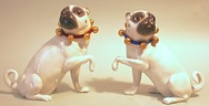 Pair of Large Porcelain Pugs