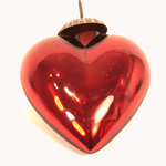Red and Silver Heart Christmas Tree Decoration
