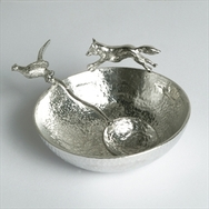 Pewter Bowl with Fox and Pheasant  Spoon