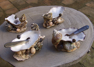 Pair of Oyster Shell Salt Cellars
