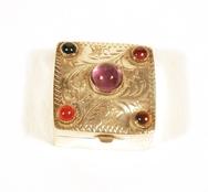 Silver Pill Box with semi precious stones