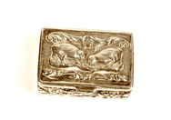 Silver Pill Box with Quails
