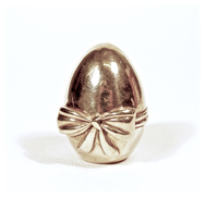 Silver Metal Egg with bow