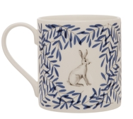 Pair of English Wildlife Mugs with Owl and Hare
