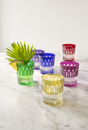 Set of 6 coloured cut glass Tumblers