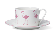 Cup & Saucer with Flamingo